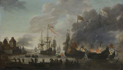 The Dutch Burn English Ships during the Expedition to Chatham, 20 June 1667 (Raid on the Medway), c.1667 (oil on panel) Fine Art Print by Jan van Leyden