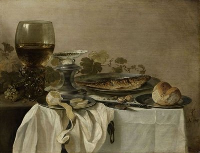 Still Life with a Fish, 1647 (oil on panel) Fine Art Print by Pieter Claesz