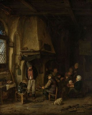 'The Skaters': Peasants in an Interior, 1650 (oil on panel) Fine Art Print by Adriaen Jansz. van Ostade