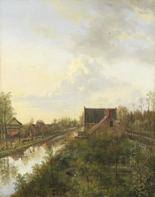 The Canal at Graveland, 1818 (oil on canvas) Fine Art Print by Pieter Gerardus van Os