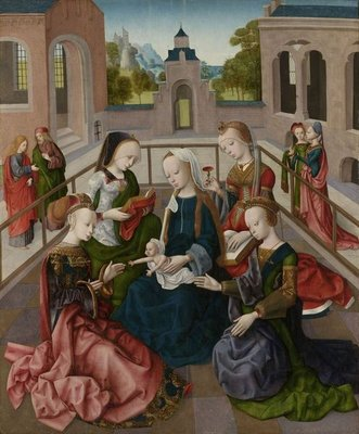 The Virgin and Child with Four Holy Virgins, c.1495-1500 (oil on panel) Fine Art Print by Master of the Virgo Inter Virgines