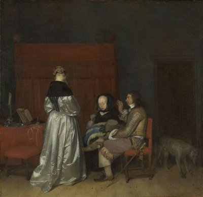 Gallant Conversation, Known as 'The Paternal Admonition', c.1654 (oil on canvas) Fine Art Print by Gerard ter Borch or Terborch