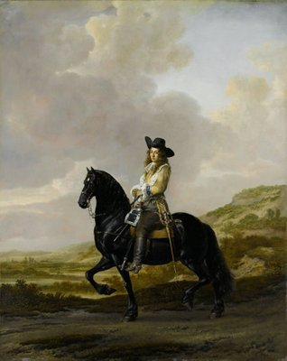 Pieter Schout on Horseback, 1660 (oil on copper) Fine Art Print by Thomas de Keyser