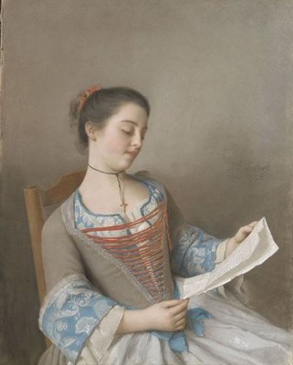 "'La liseuse"" Marianne Lavergne, a cousin of the artist, in Lyons countryside clothing, 1746 (pastel on parchment) Fine Art Print by Jean-Etienne Liotard"