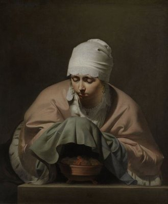 A Young Woman Warming her Hands over a Brazier, an Allegory of Winter, c.1644-8 (oil on canvas) Fine Art Print by Cesar Boetius van Everdingen