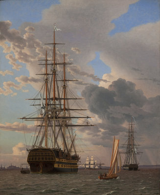 "The Russian Ship of the Line ""Asow"" and a Frigate at Anchor in the Roads of Elsinore, 1828 (oil on canvas) Postcards, Greetings Cards, Art Prints, Canvas, Framed Pictures, T-shirts & Wall Art by Christoffer-Wilhelm Eckersberg"