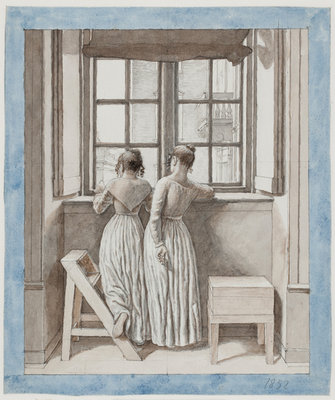 At a Window in the Artist's Studio, 1852 (Pen, grey ink and brown wash over pencil framed in light blue watercolour) Postcards, Greetings Cards, Art Prints, Canvas, Framed Pictures, T-shirts & Wall Art by Christoffer-Wilhelm Eckersberg