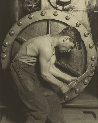 Mechanic and Steam Pump, 1921 (b/w photo) Postcards, Greetings Cards, Art Prints, Canvas, Framed Pictures, T-shirts & Wall Art by Lewis Wickes Hine