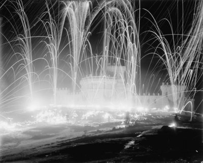 Midwinter carnival, storming the fortress, Upper Saranac Lake, N.Y., 1909 (b/w photo) Fine Art Print by Detroit Publishing Co.