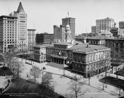City Hall and Park, New York, c.1900 (b/w photo) Wall Art & Canvas Prints by Detroit Publishing Co.