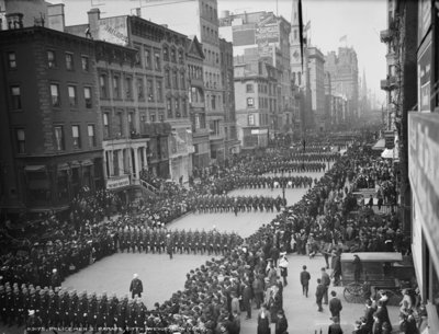 Policemen's parade, Fifth Avenue, New York, c.1900-05 (b/w photo) Wall Art & Canvas Prints by Detroit Publishing Co.