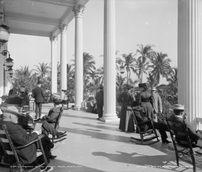 Veranda of the Hotel Royal Palm, Miami, Florida, c.1905 (b/w photo) Postcards, Greetings Cards, Art Prints, Canvas, Framed Pictures, T-shirts & Wall Art by Detroit Publishing Co.