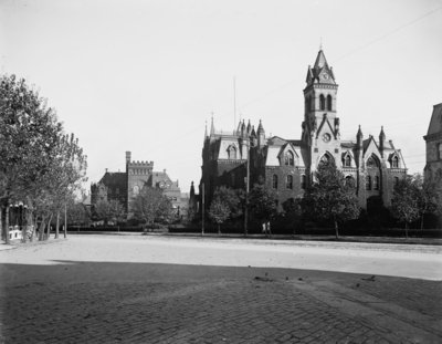 University of Pennsylvania, Main Building and Library, Philadelphia, Pennsylvania, c.1900 (b/w photo) Wall Art & Canvas Prints by Detroit Publishing Co.