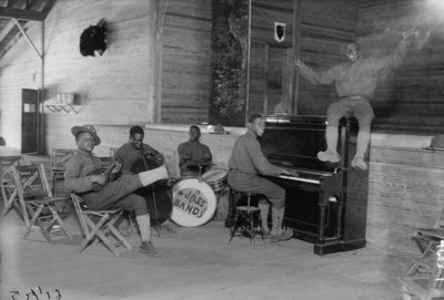 US Army Jazz Band, 1914-18 (b/w photo) Wall Art & Canvas Prints by American Photographer