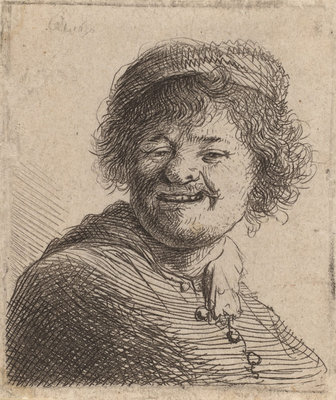 Self portrait in a Cap Laughing, 1630 (etching) Wall Art & Canvas Prints by Rembrandt Harmensz. van Rijn