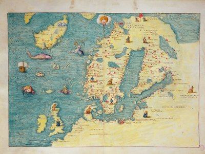 Northern Europe, from an Atlas of the World in 33 maps, Venice, 1st September 1553 (ink on vellum) (see also 330952) Wall Art & Canvas Prints by Battista Agnese