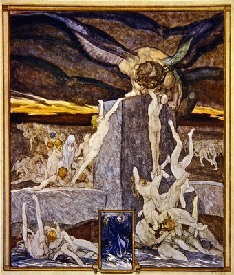 Illustration from Dante's 'Divine Comedy', Inferno, Canto XIX, 1921 Fine Art Print by Franz von Bayros