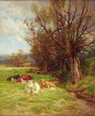 Cattle grazing Fine Art Print by Charles James Adams