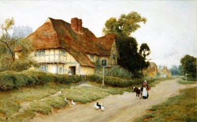 The Village Inn (w/c) Wall Art & Canvas Prints by Arthur Claude Strachan