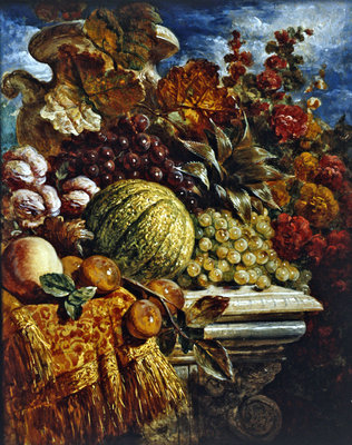 Still life with fruit (w/c on paper) Fine Art Print by George Lance
