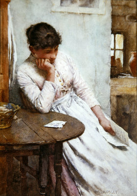 The Letter (w/c on paper) Fine Art Print by Walter Langley