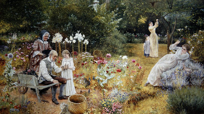 Calling the Bees (oil on canvas) Fine Art Print by Edward Killingworth Johnson