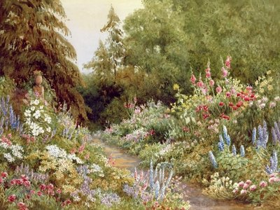 Herbaceous Border (w/c on paper) Wall Art & Canvas Prints by Evelyn L. Engleheart