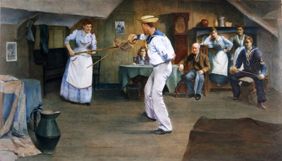 The Fencing Lesson, 1893 (w/c on paper) Fine Art Print by Frederick James McNamara Evans