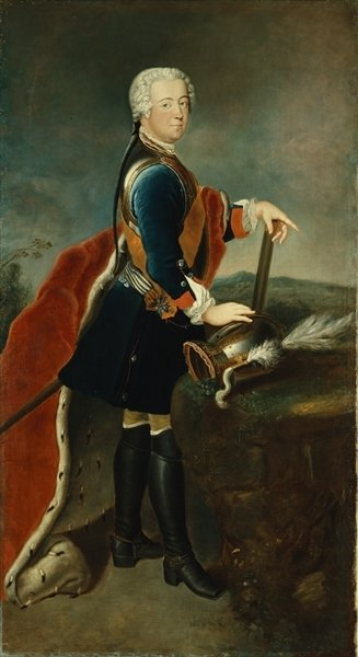 The Crown Prince Frederick II, c.1736 (oil on panel) Wall Art & Canvas Prints by Georg Wenceslaus von Knobelsdorff