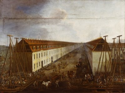Building works on Friedrichstrasse in Berlin, c.1735 Fine Art Print by Dismar Degen