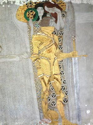The Knight detail of the Beethoven Frieze, said to be a portrait of Gustav Mahler Fine Art Print by Gustav Klimt