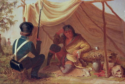 Osceola in Captivity, c.1837 (oil on canvas) Wall Art & Canvas Prints by Captain Seth Eastman