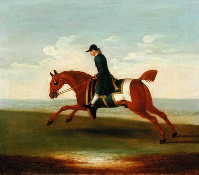 Chestnut Racehorse Exercised by a Trainer in a Blue Coat (oil on canvas) Postcards, Greetings Cards, Art Prints, Canvas, Framed Pictures, T-shirts & Wall Art by James Seymour