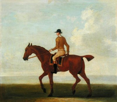 A Chestnut Racehorse with Jockey Up, c.1730 (oil on canvas) Postcards, Greetings Cards, Art Prints, Canvas, Framed Pictures, T-shirts & Wall Art by James Seymour