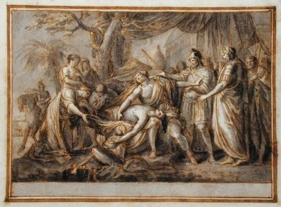 Achilles Lamenting the Death of Patroclus, 1760-63 (pen and ink and wash on paper) Fine Art Print by Gavin Hamilton