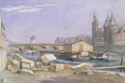 The Pont au Change and the Conciergerie, Paris, 1837 (w/c on paper) Wall Art & Canvas Prints by Richard Redgrave