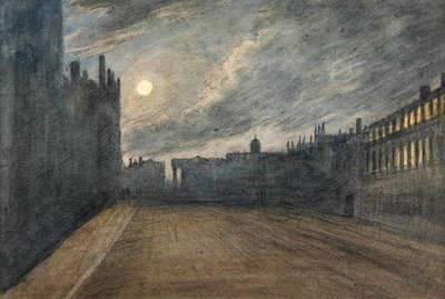 Broad Street, Oxford, full moon, 1790 (w/c over charcoal & graphite on paper) Fine Art Print by John Baptist Malchair