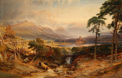 Kilchurn Castle, Argyllshire, 1865 (w/c, b/c, scratching out and graphite on paper) Wall Art & Canvas Prints by William Leighton Leitch