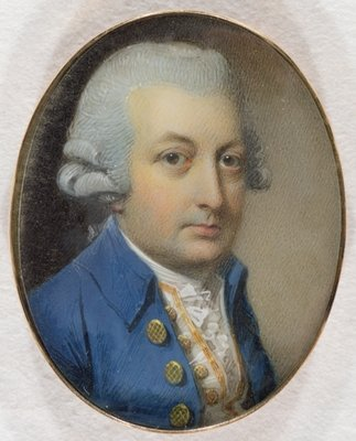 Portrait of a Gentleman, 1787 (w/c and gouache on ivory) Wall Art & Canvas Prints by George Engleheart