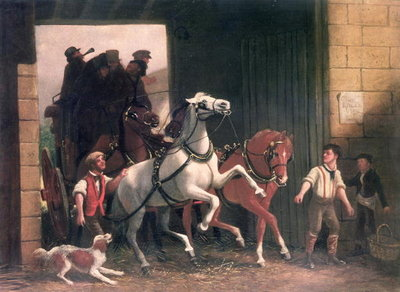 The Stage Arrives, c.1830 (oil on canvas) Fine Art Print by English School
