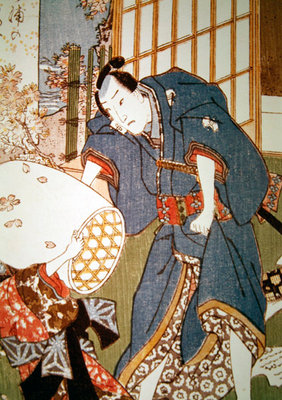 Illustration from 'The Tale of Genji' (colour woodblock print) Fine Art Print by Utagawa Kunisada
