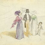 A family strolling, c.1825 Fine Art Print by Claude Monet