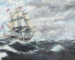 USS Constitution heads for HM Frigate Guerriere, 19th August 1812, 2003, Oil on Canvas Postcards, Greetings Cards, Art Prints, Canvas, Framed Pictures, T-shirts & Wall Art by Pierre Auguste Renoir