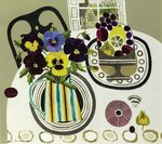 Pansies in Striped Jug Postcards, Greetings Cards, Art Prints, Canvas, Framed Pictures, T-shirts & Wall Art by Marta Martonfi-Benke