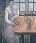 Woman with Small Cup, 2007 (oil on canvas) Fine Art Print by Daniel Clarke
