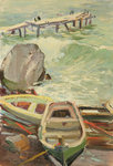 Boats in Gurzuf, Black Sea, 1960s (oil on card) Postcards, Greetings Cards, Art Prints, Canvas, Framed Pictures, T-shirts & Wall Art by Katsushika Hokusai