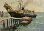 Trawler by the pier in Gurzuf, 1960s (oil on card) Wall Art & Canvas Prints by William Cooper