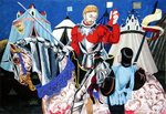 In preparation for the jousting match Fine Art Print by Janet and Anne Johnstone