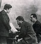The composers Pietro Mascagni, Albero Franchetti and Giacomo Puccini at the piano, 19th-20th century Fine Art Print by Johann Zitterer