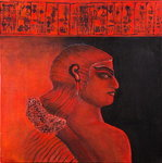 Head of a Sumerian woman in red, 2005 Wall Art & Canvas Prints by Firyal Al-Adhamy
